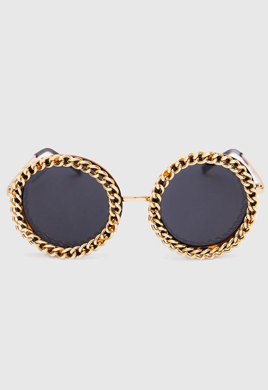 Rounded Frame Sunglasses Trimmed in Gold Chain