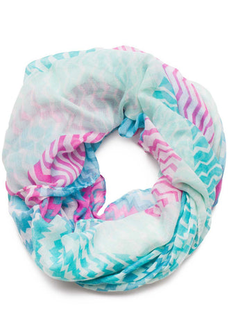 Hello Floral Infinity Scarf in Blue