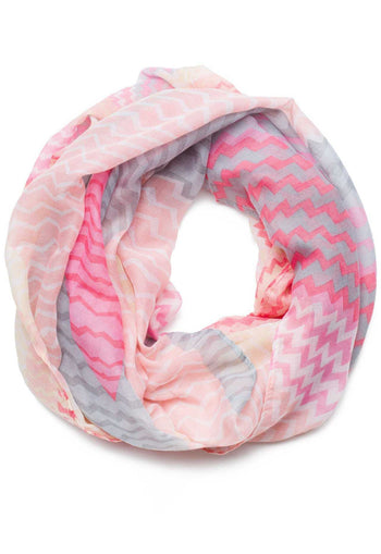 Accessories - Goodbye Zig Zag Infinity Scarf In Peach