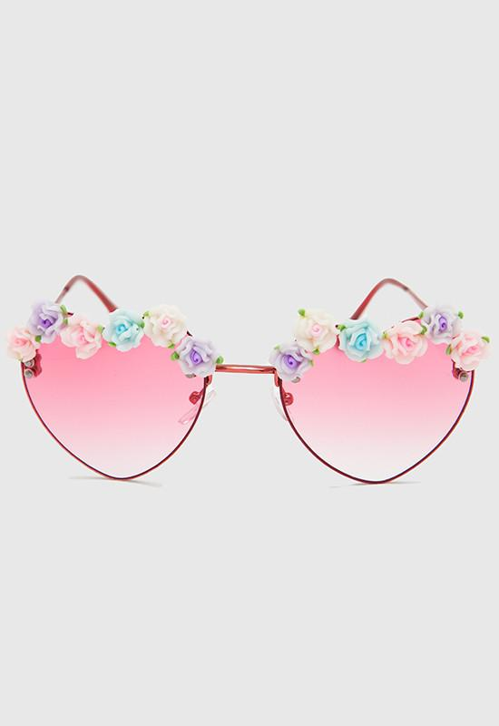 d09976be56 Heart Floral Sunglasses - Red