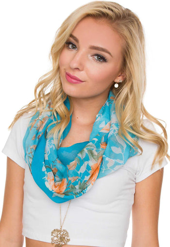 Accessories - Hello Floral Infinity Scarf In Blue