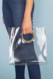 Clear Bag with a Flat Bottom and Two Grommet Rings
