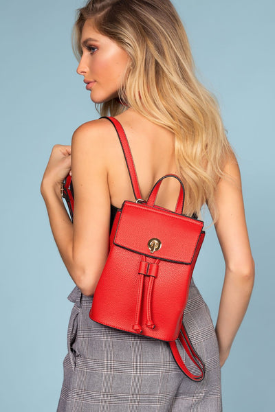Red Backpack with Vegan Leather