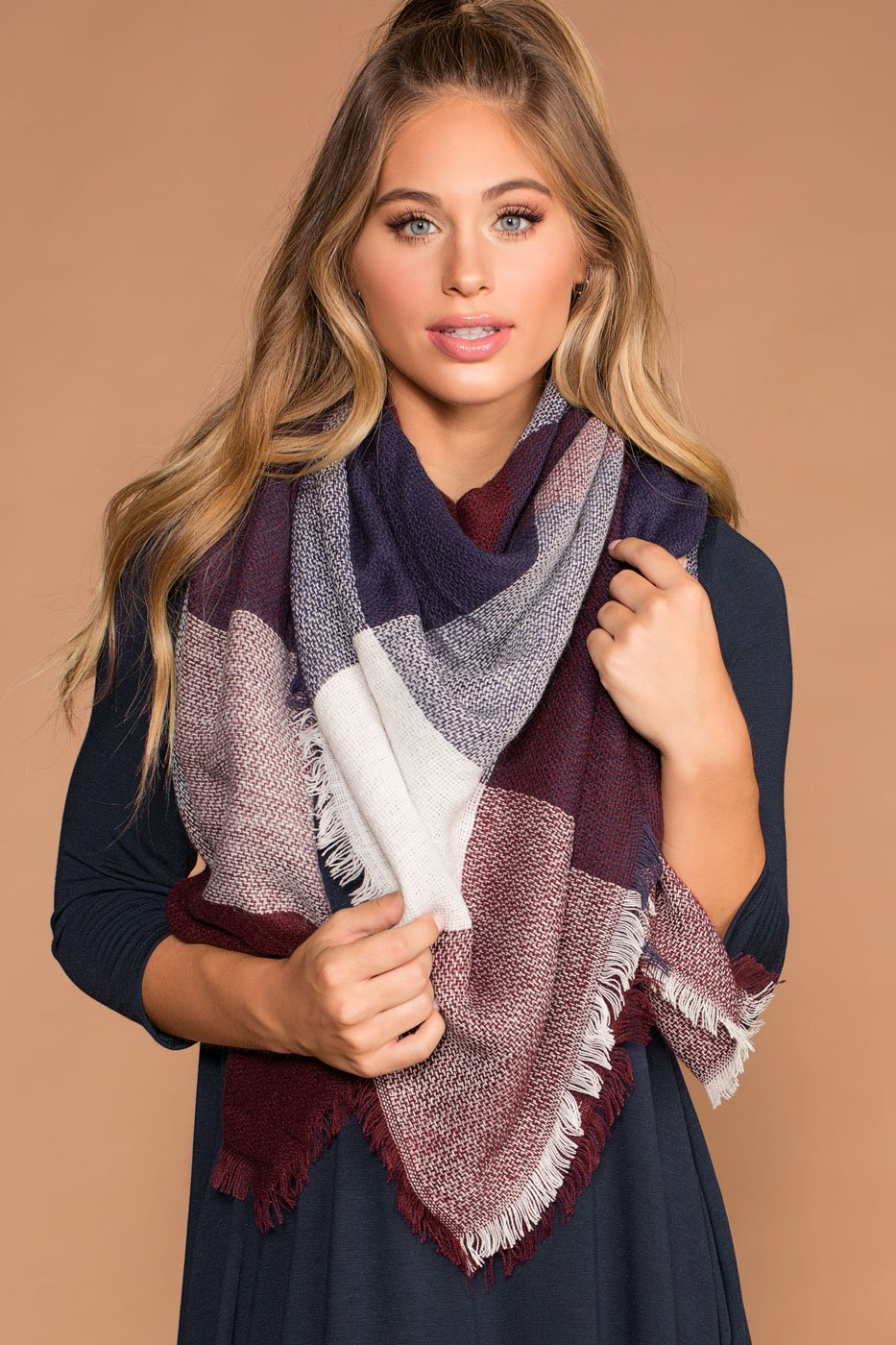 Accessories - Maggi Plaid Navy And Burgundy Scarf
