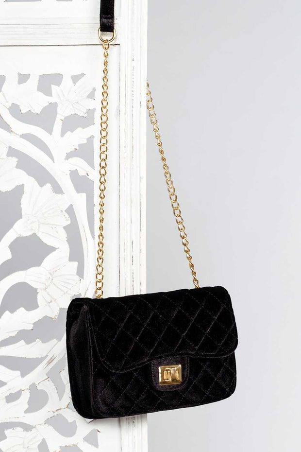 Accessories - Midelton Quilted Velvet Purse - Black