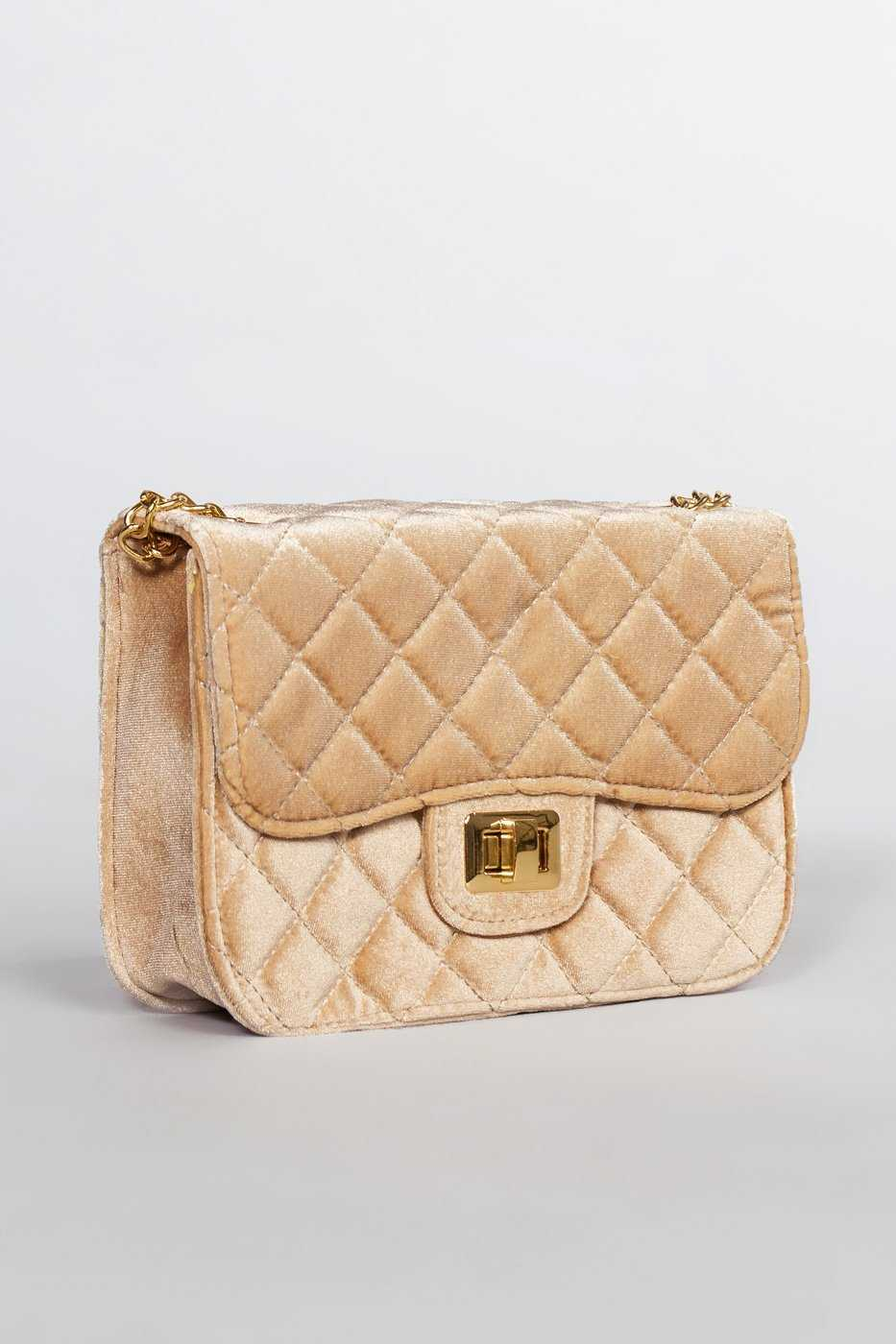 Accessories - Midelton Quilted Velvet Purse - Champagne