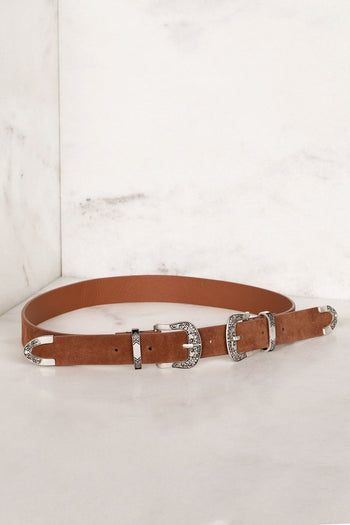 Brown Belt with Engraved Buckles