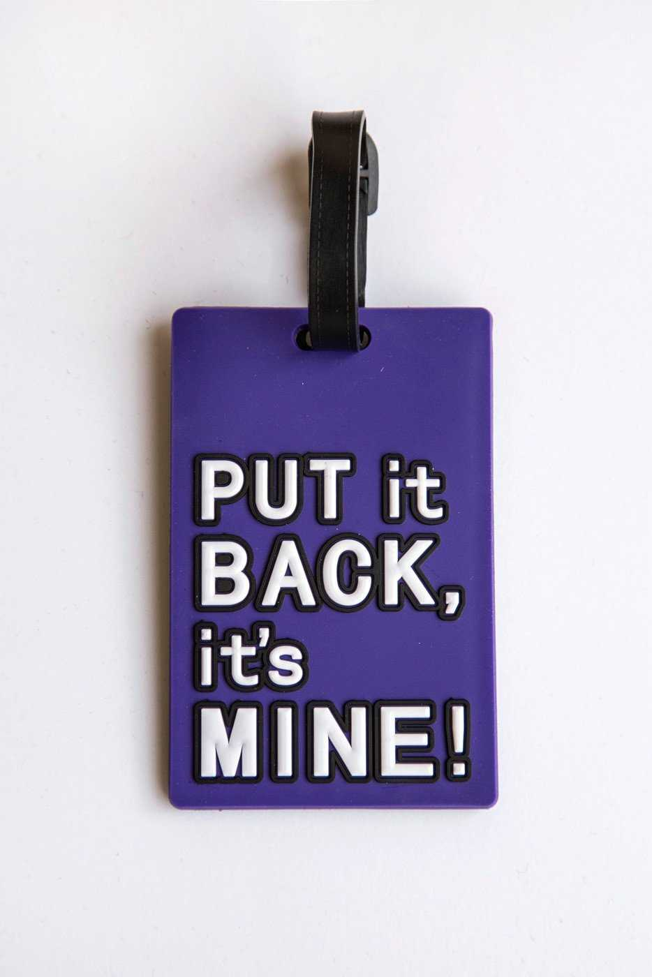 """Put It Back"" Purple Luggage Tag Travel Accessory"