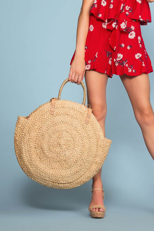 Beige Woven Straw Tote