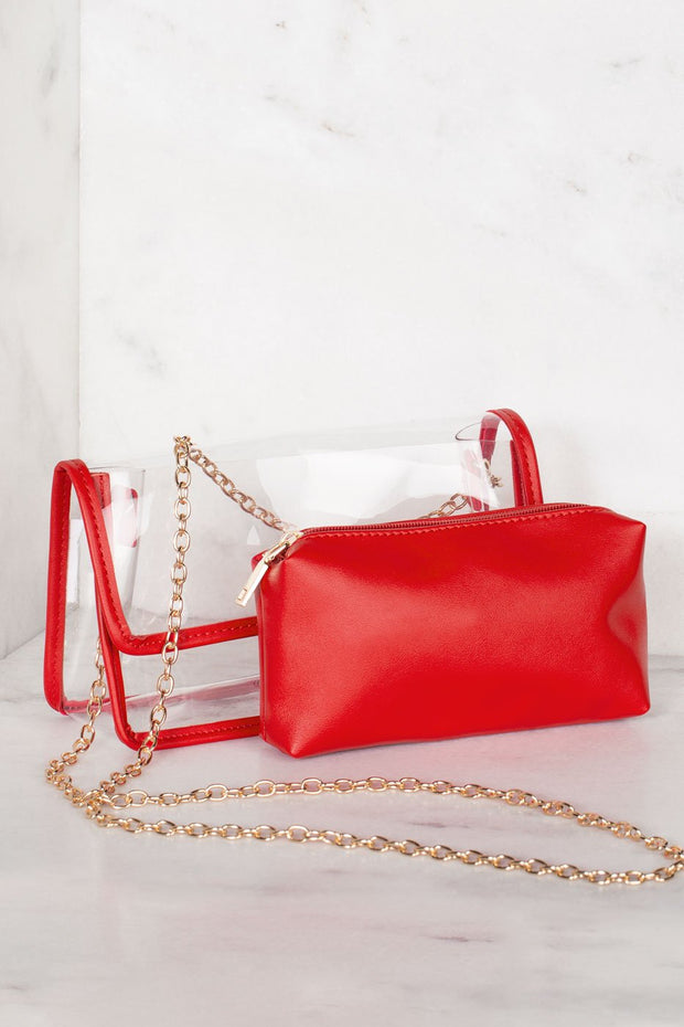Transparent Red Cross Body Purse