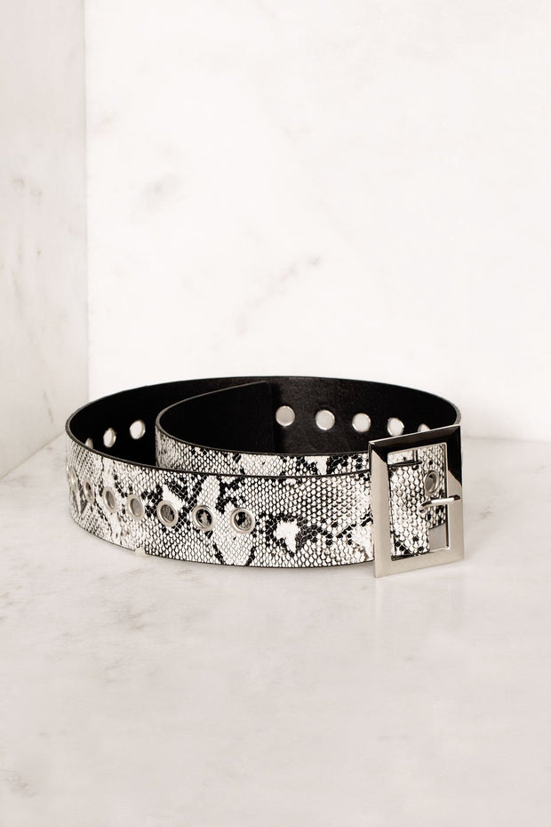 Black and White Snake Print Grommet Belt