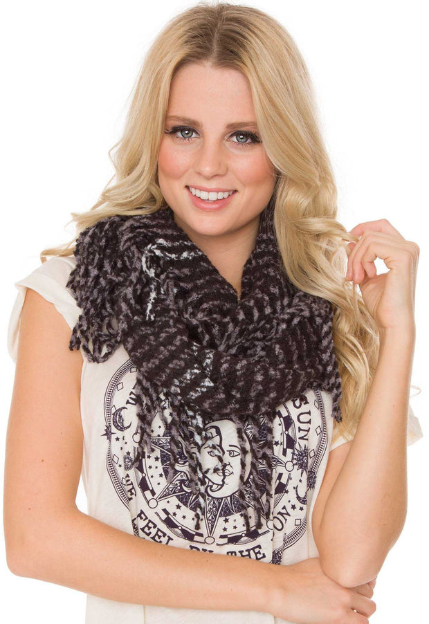 Accessories - Shannon Fringe Infinity Scarf - Black