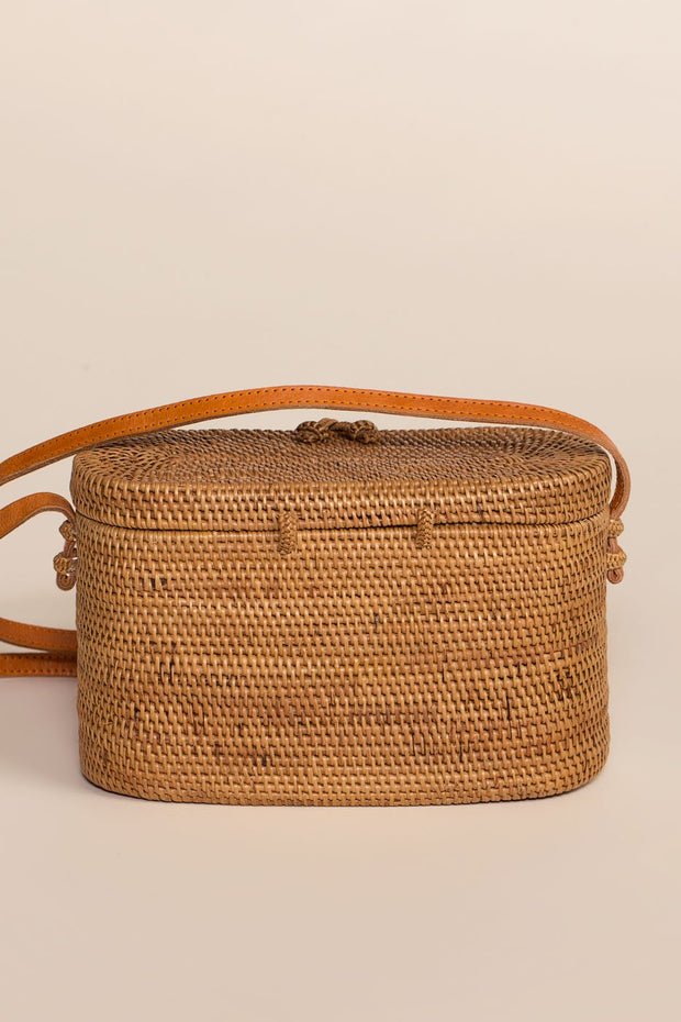 Straw Shoulder Bag with a Woven Design