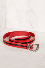 Black and Red Silver Buckle Belt