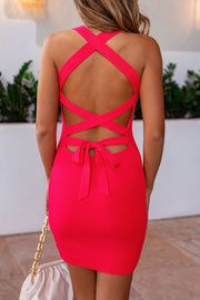 Bombshell Coral Tie-Back Dress