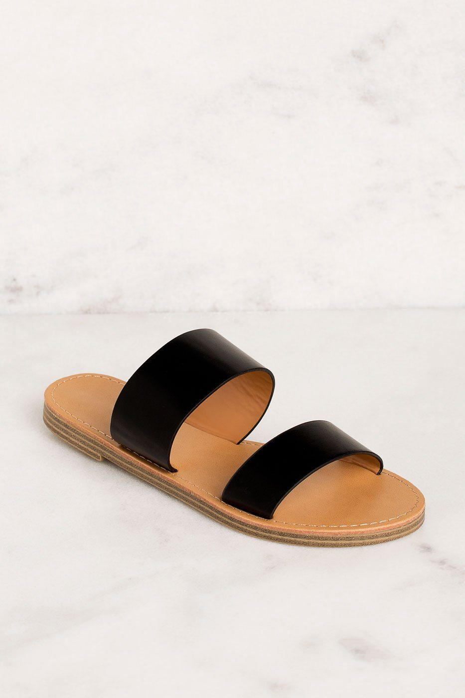 407fcb384 Katida Black Slide On Sandals