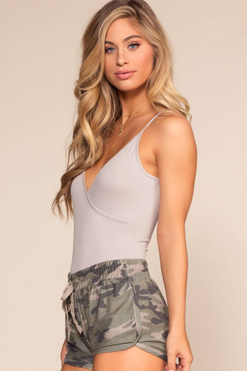 Grey Bodysuit with V-Neck and Scoop Back