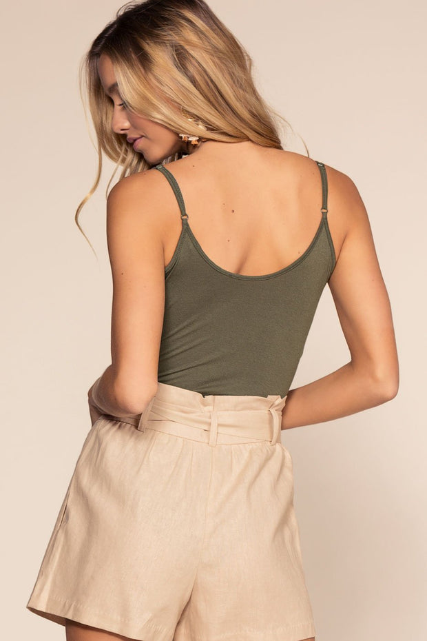 Olive Bodysuit with V-Neck and Scoop Back
