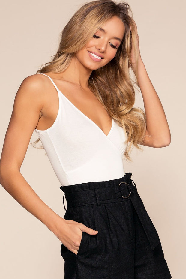 White Bodysuit with V-Neck and Scoop Back