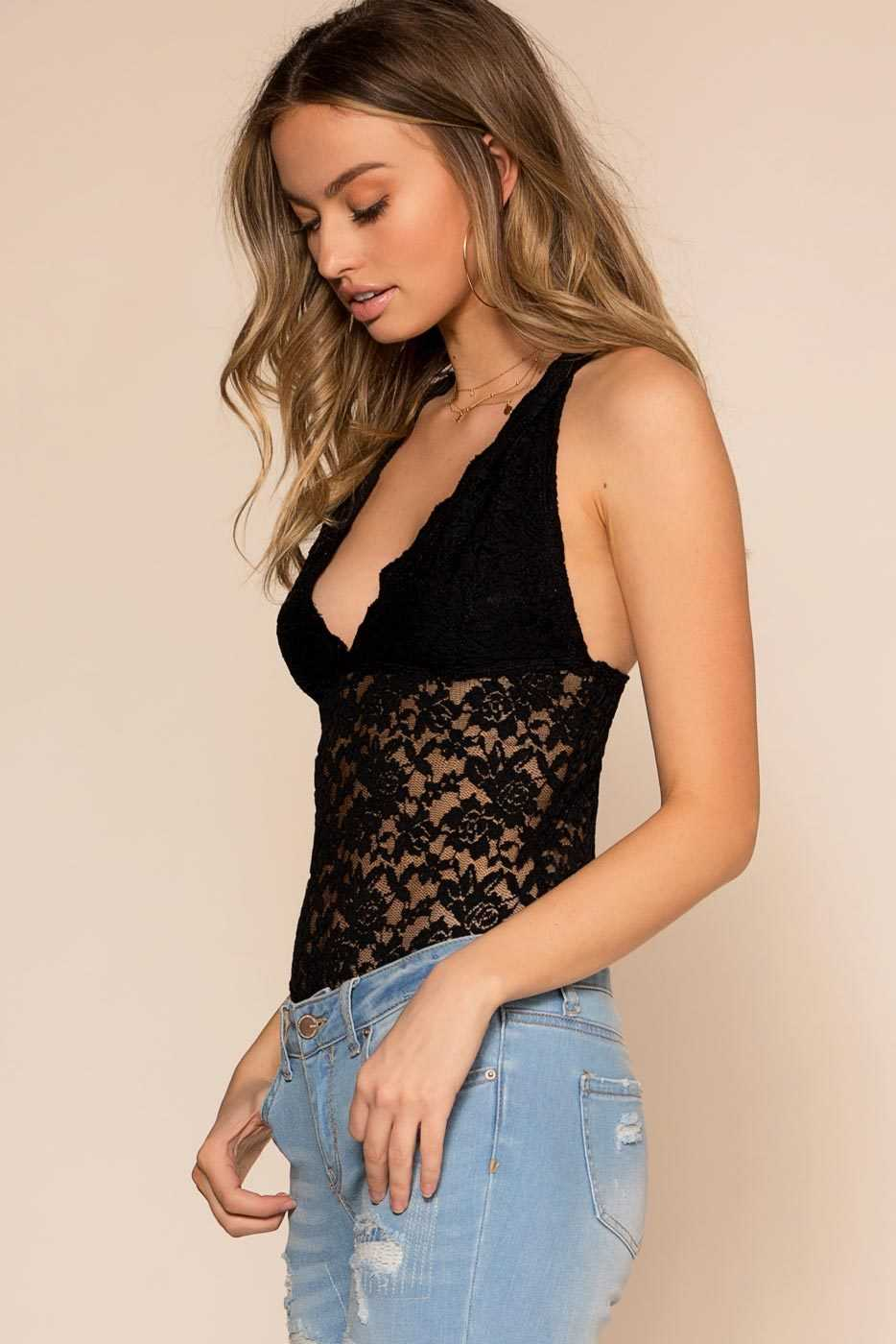Bodysuits - Loraine Lace Bodysuit - Black