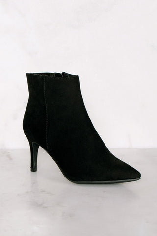 Groove With Me Black Cut-Out Pointed-Toe Booties