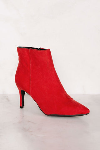 Skyee Sock Booties - Red Suede