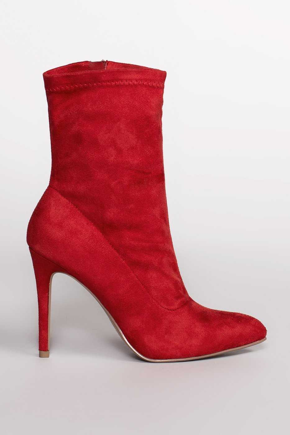 Booties - Skyee Sock Booties - Red Suede