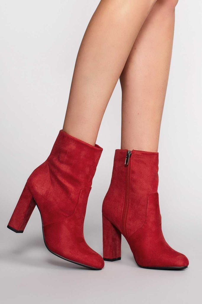 Booties - Twiggy Booties - Red Suede