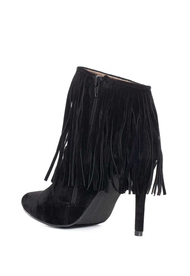 Booties - Wild West Fringe Booties - Black