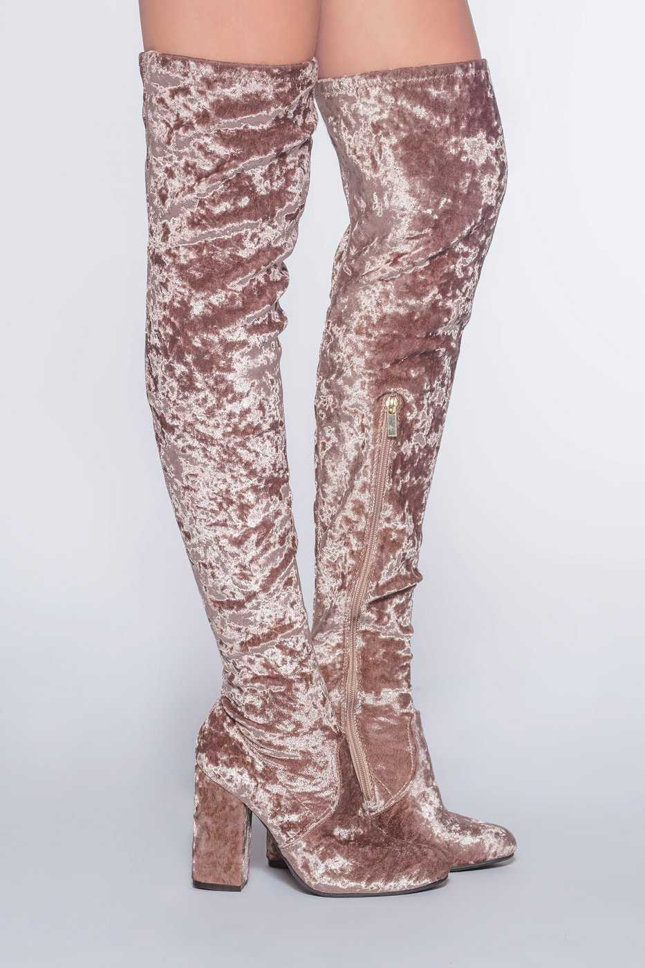 Blush Crushed Velvet Thigh High Boots