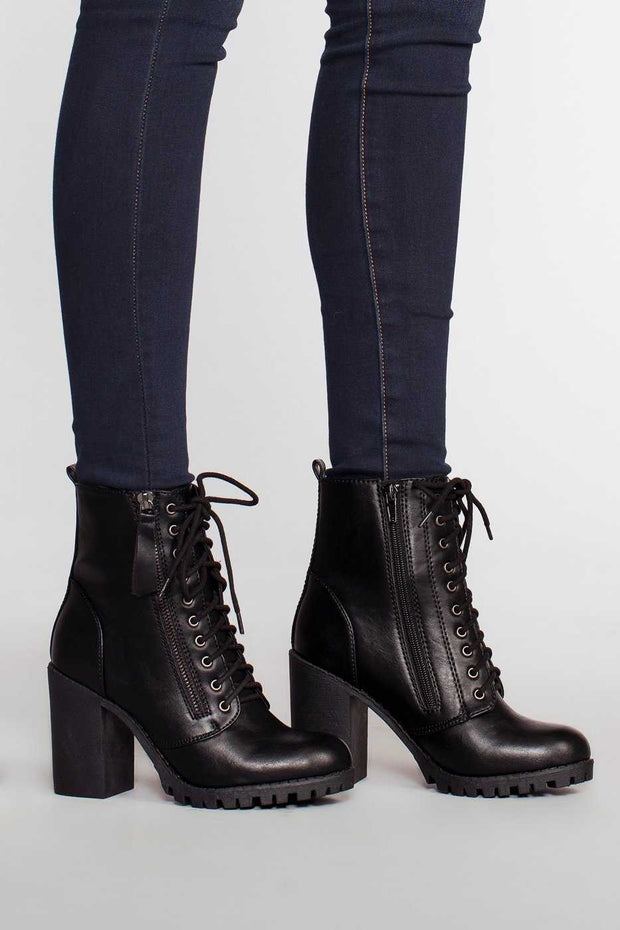 Black High Heel Lace Up Combat Boots