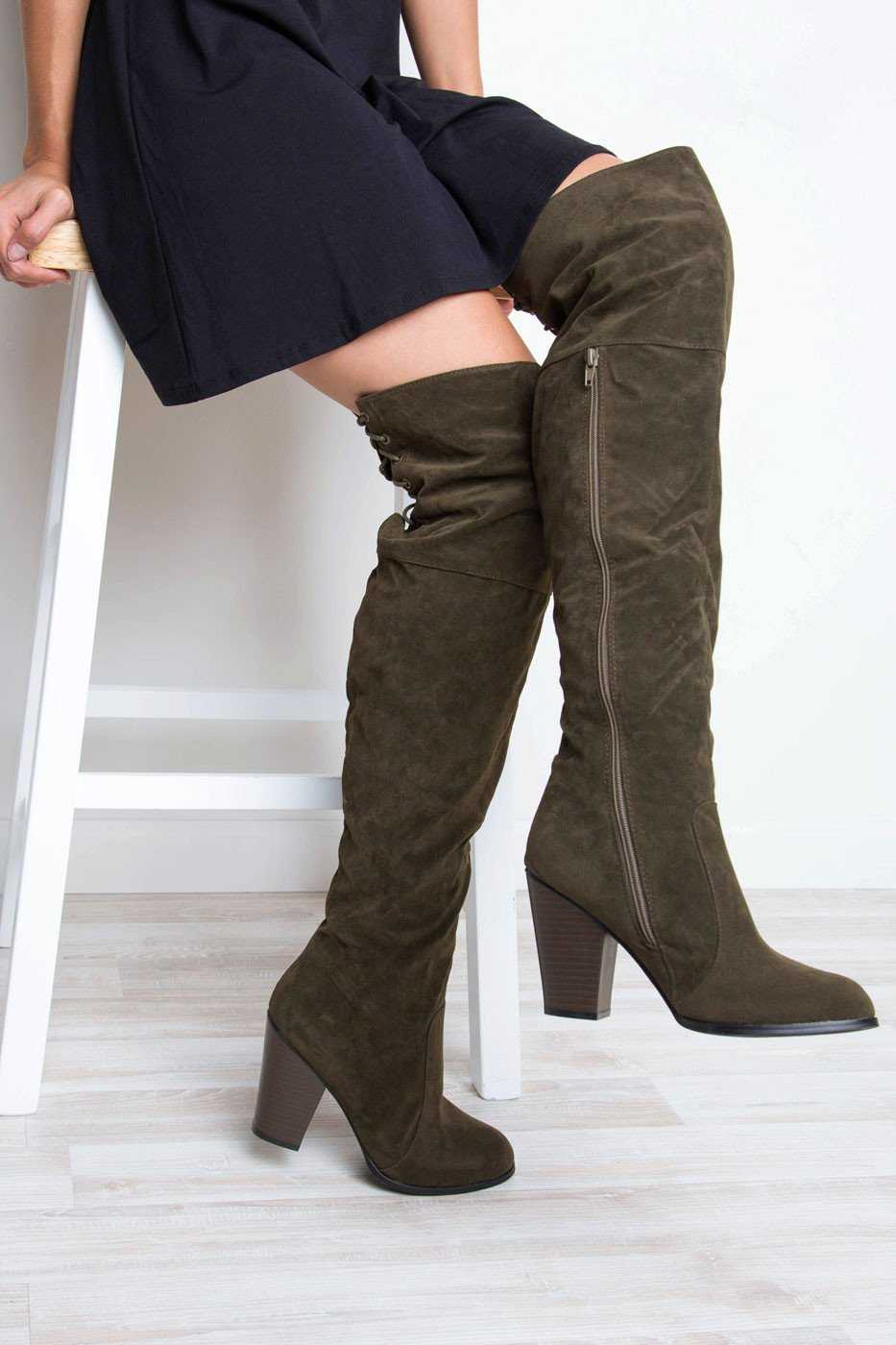 Boots - Locklyn Suede Knee High Boots - Olive