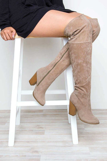 Boots - Locklyn Suede Knee High Boots - Taupe