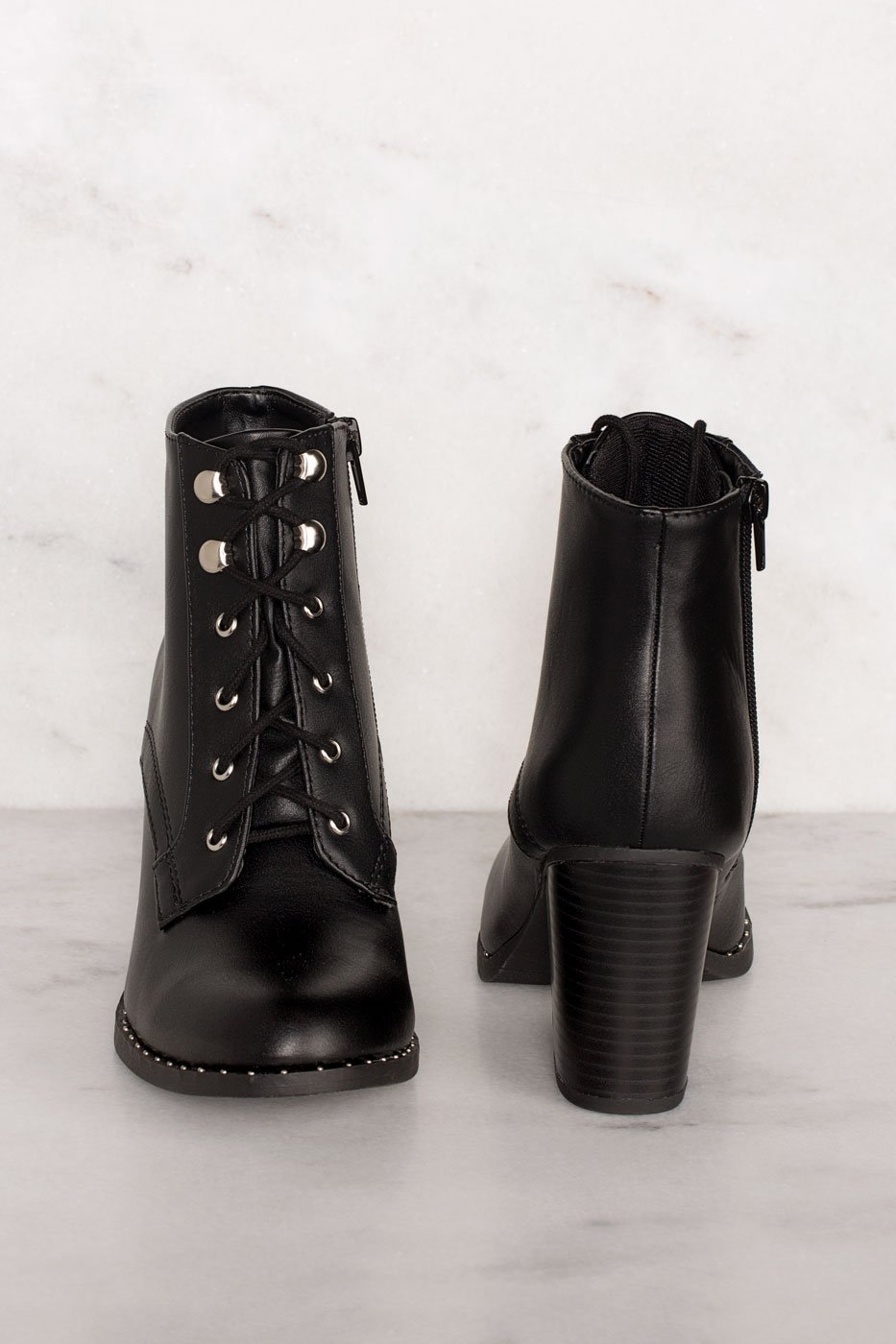 Boots - Own It Black Lace Up Boots