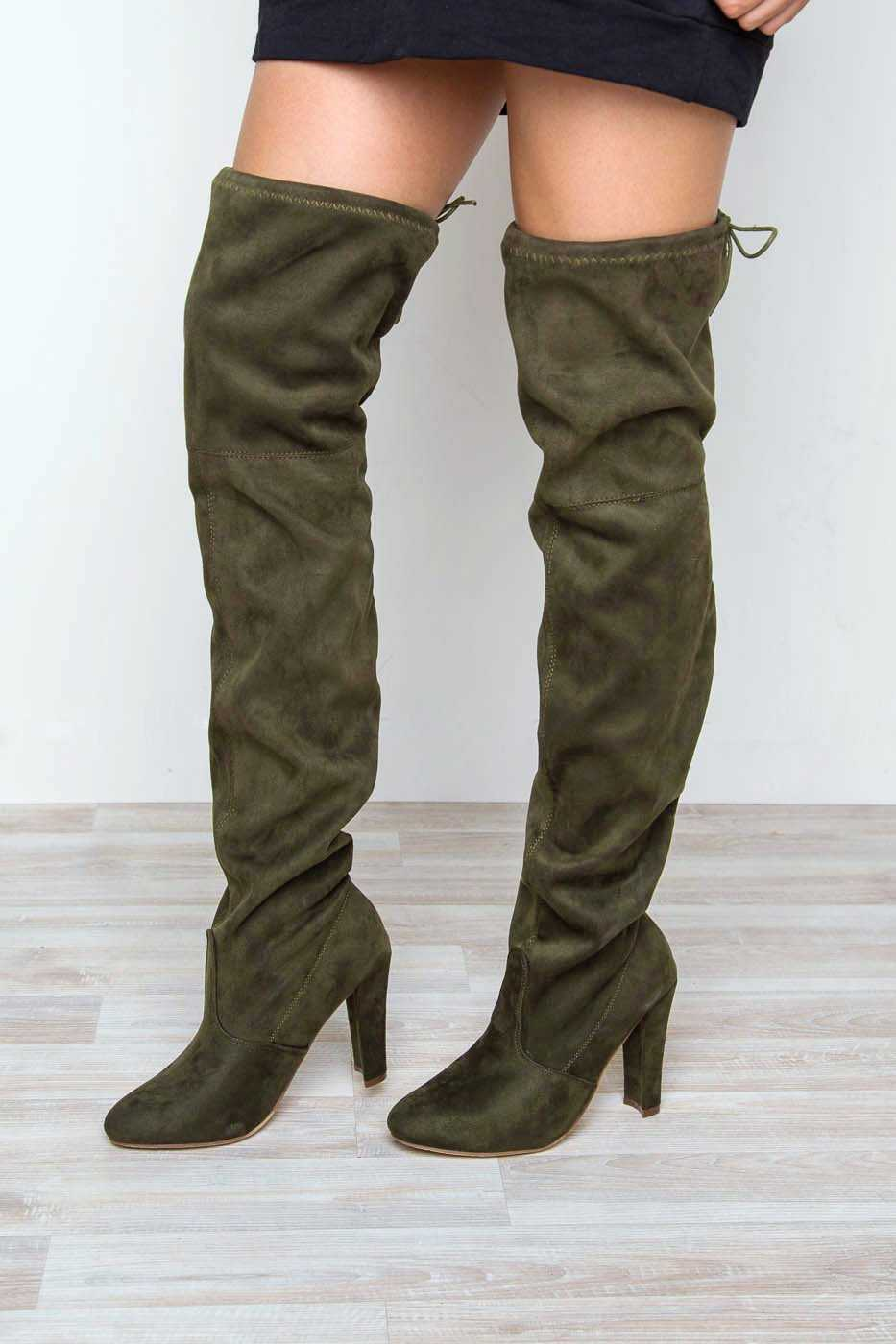 f1c07a8363622 Showdown Thigh High Boots - Olive | In Touch Footwear