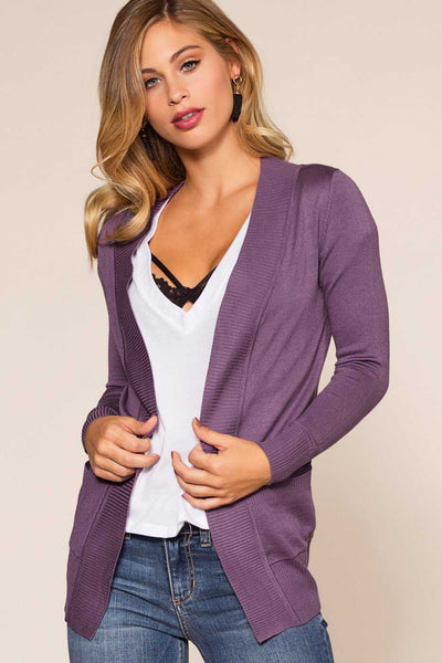 Lavender Stretchy and Soft Knit Cardigan