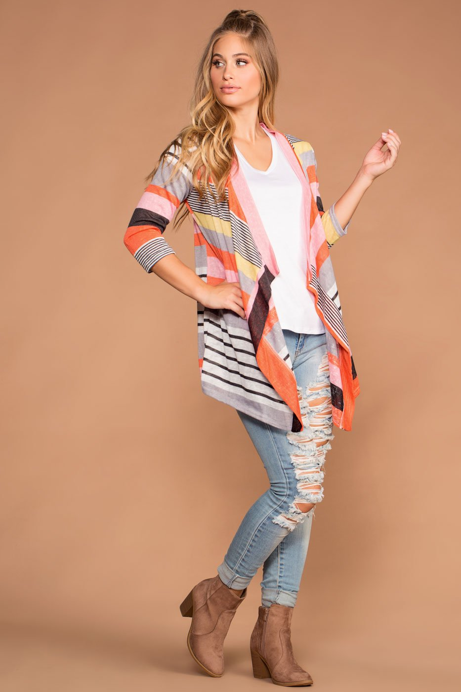 Cardigans - All Around Stripe Cardigan