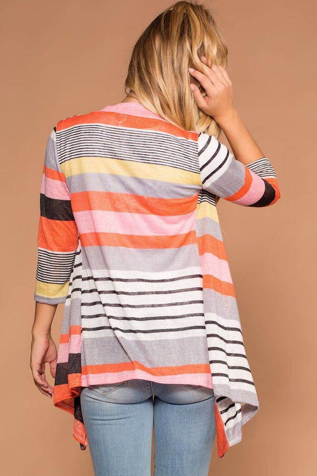 Striped Colorblock Cardigan