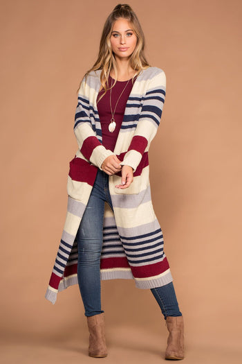 Cardigans - Allison Ivory And Burgundy Stripe Knit Sweater Cardigan