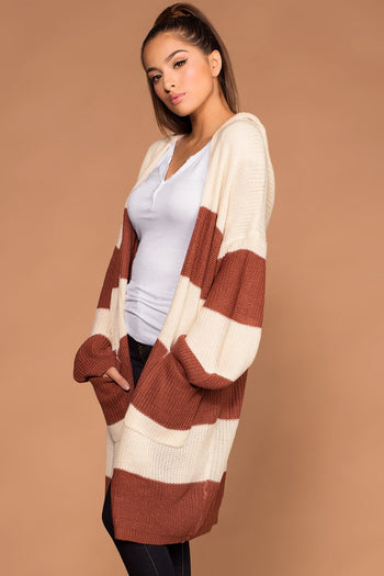 Striped Rust Knit Cardigan