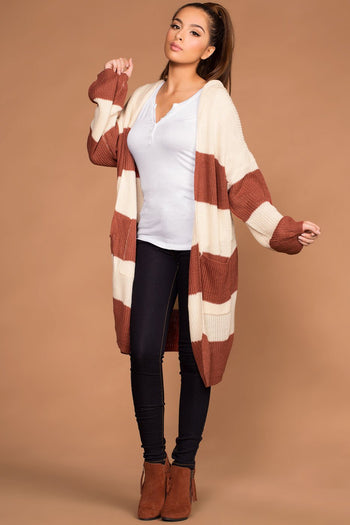 Cardigans - Carrie Striped Knit Cardigan