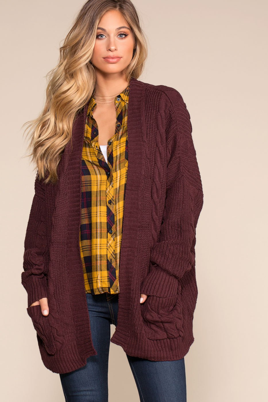 de4284deb52 Cozy Cable Oversized Cardigan Sweater - Burgundy