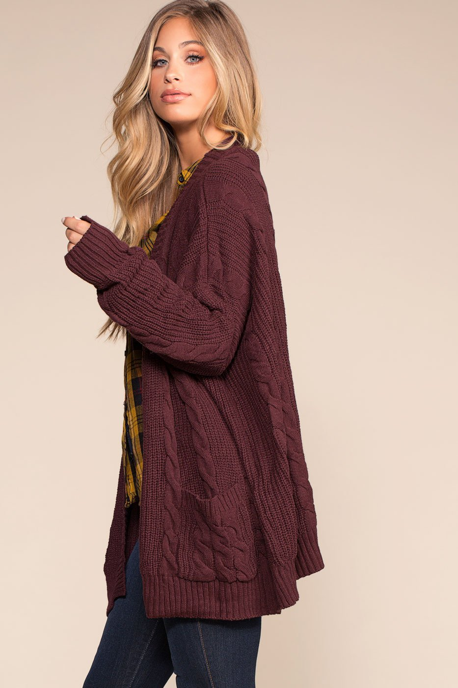 fae81337c55 ... Cardigans - Cozy Cable Oversized Cardigan Sweater - Burgundy ...