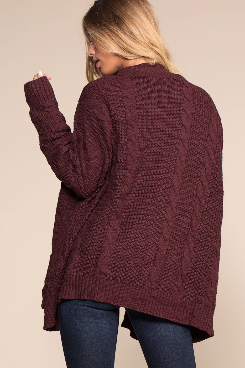 Cardigans - Cozy Cable Oversized Cardigan Sweater - Burgundy