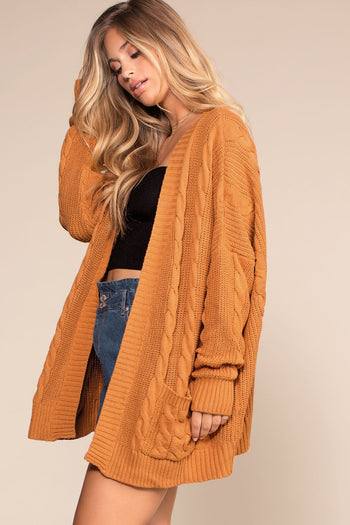 Camel Oversized Cardigan Sweater