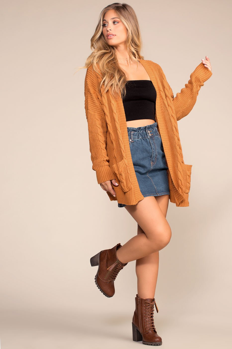 Cardigans - Cozy Cable Oversized Cardigan Sweater - Camel