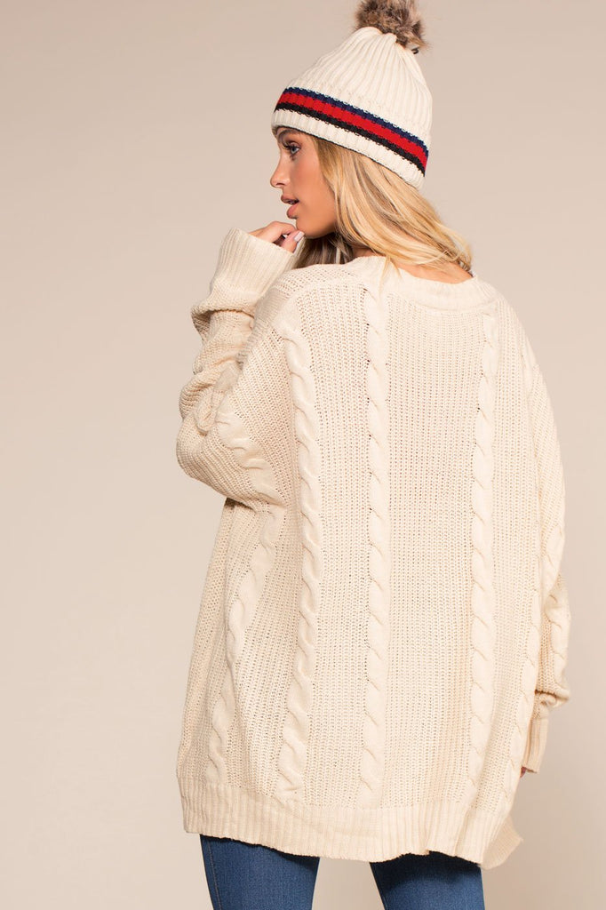 Cardigans - Cozy Cable Oversized Cardigan Sweater - Ivory