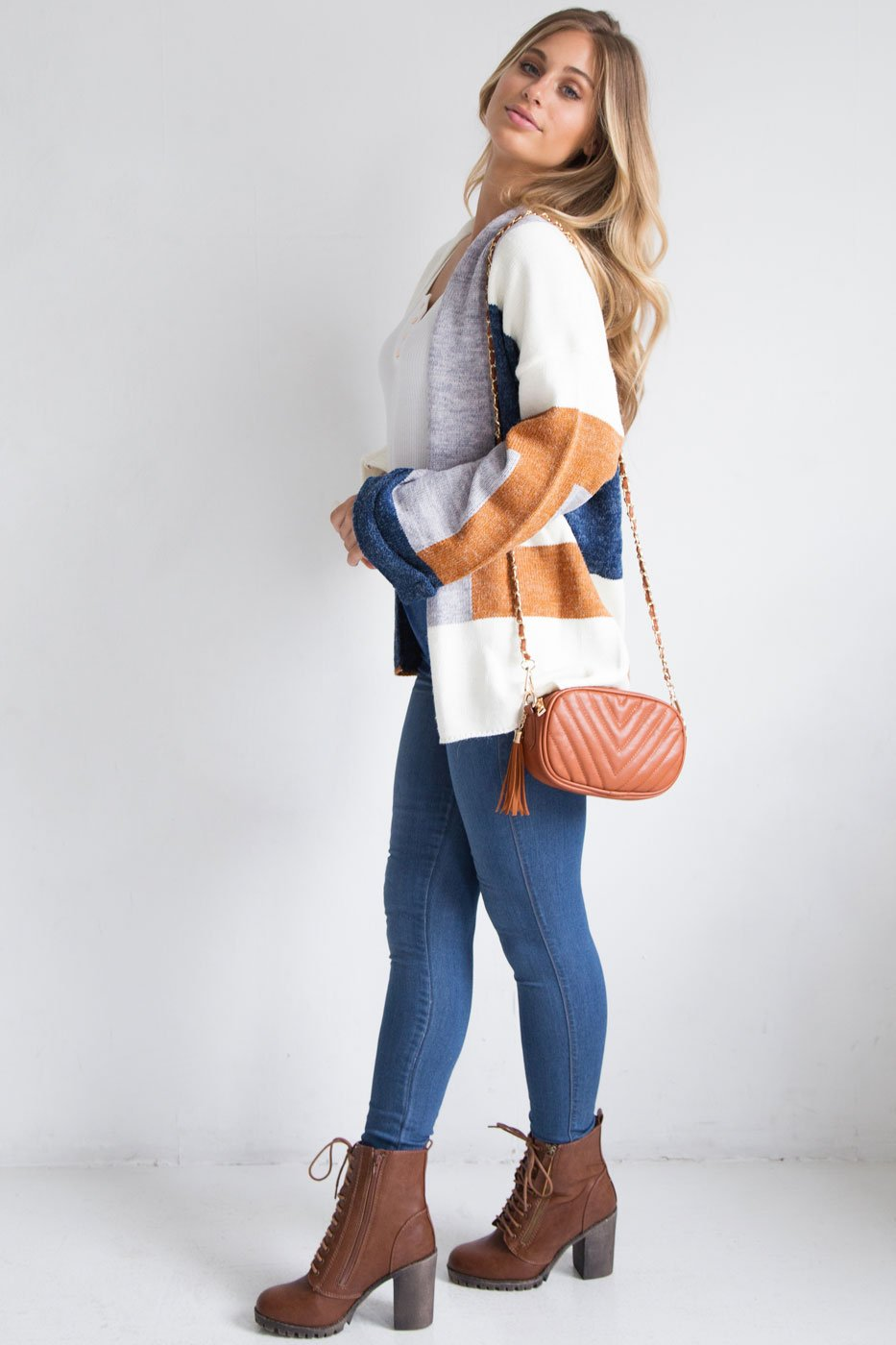 Brown ColorBlock Cardigan