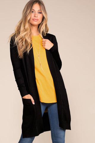 Kokette Long Cardigan Sweater - Mustard