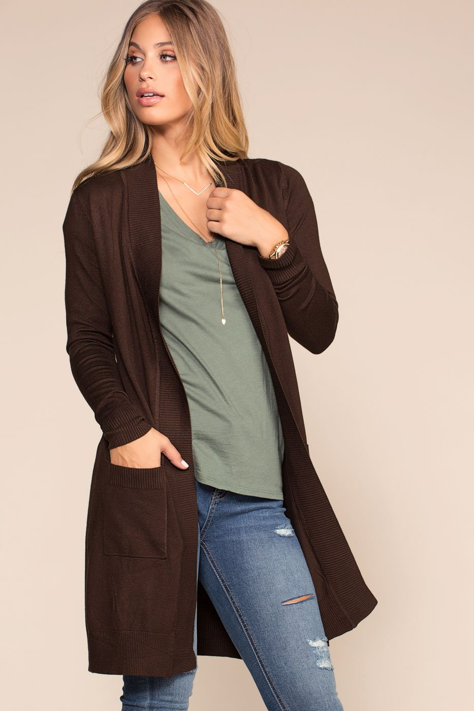 Cardigans - Kokette Long Cardigan - Chocolate